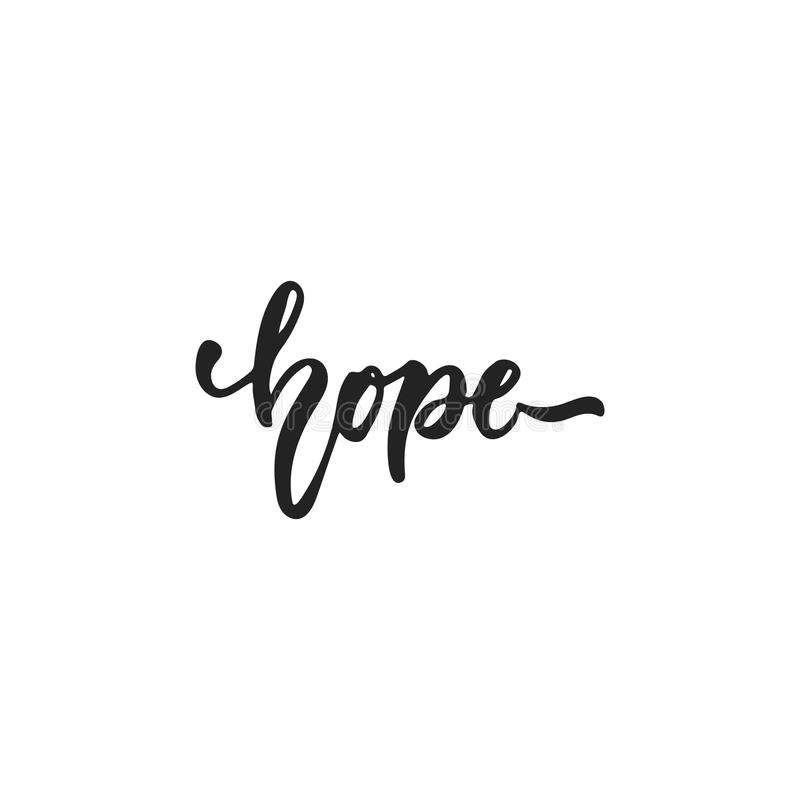 Hope - hand drawn October Breast Cancer Awareness Month lettering phrase isolated on white background. Brush ink vector. Quote for banners, greeting card vector illustration