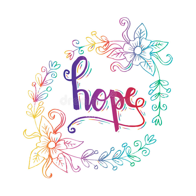 HOPE hand lettering. stock illustration