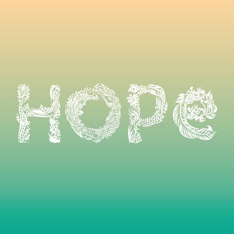 Hope illustrated word stock illustration