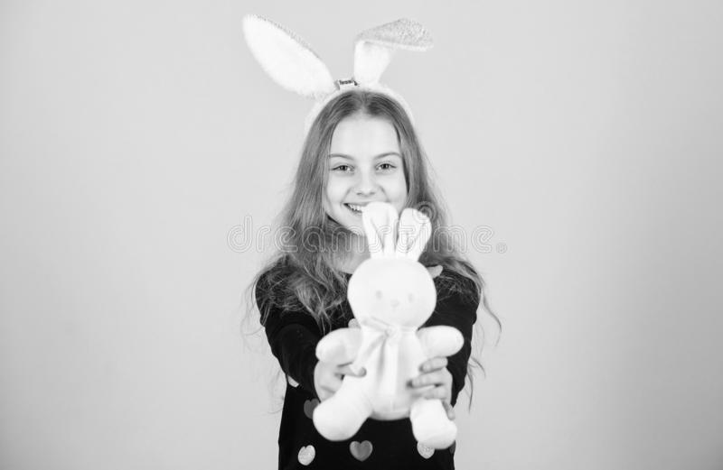 Hope and innocence. Happy child smiling in Easter bunny style. Easter bunny rabbit brings gifts to good child. Girl royalty free stock image