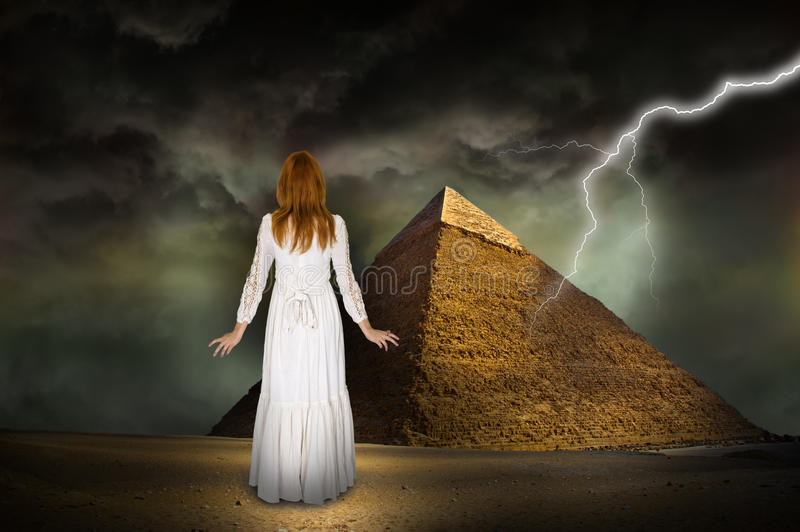 Hope, Inspiration, Beautiful Woman, Lightning royalty free stock image