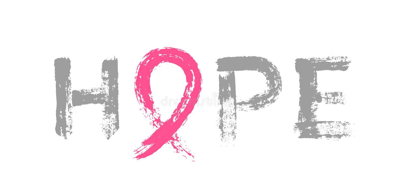 Hope Lettering Pink Ribbon Breast Cancer Awareness. Hope Lettering with Pink Ribbon - Symbol of Breast Cancer Awareness Day. Brush strokes design. Isolated on stock illustration