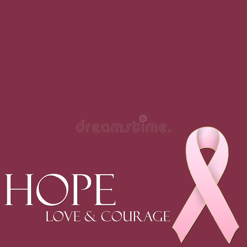 Hope Love & Courage Pink Ribbon Background Royalty Free Stock Photography