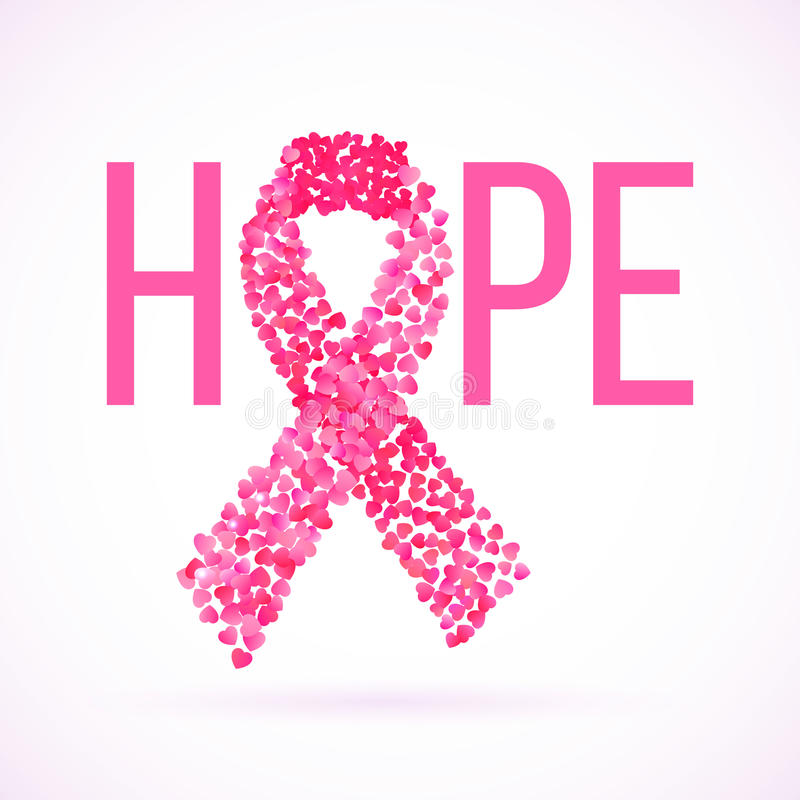 Hope message in pink with cancer awareness ribbon vector illustration