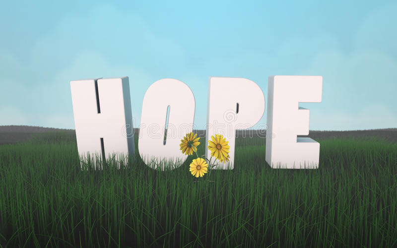 Hope for a new life in harmony with nature letters on the grass 3d vector illustration
