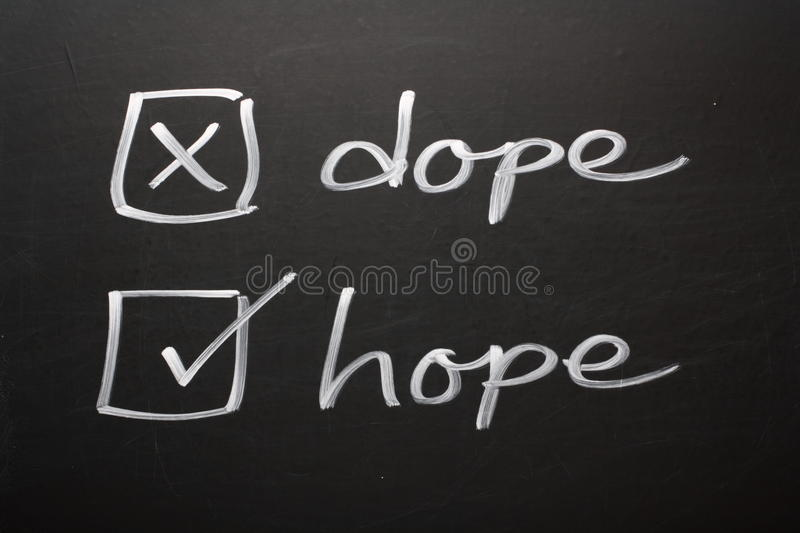 Hope not Dope. A drug abuse or drug rehabilitation concept on a blackboard using tick boxes for the words dope and hope. Say no to Dope and yes to Hope stock photos