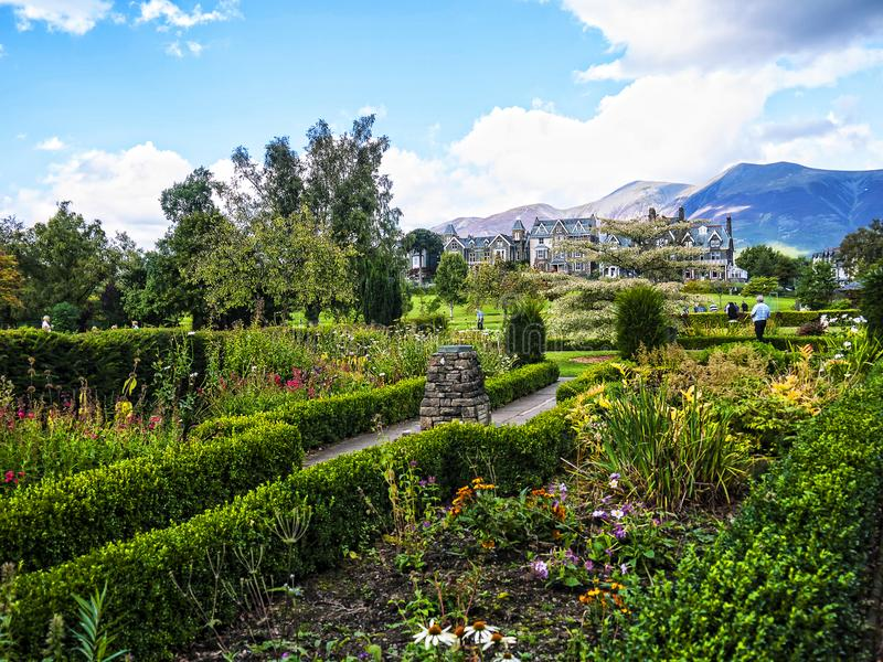 Hope Park in Keswick in north-western England, in the heart of the Lake District. Keswick is a market town in northwest England's Lake District National royalty free stock image