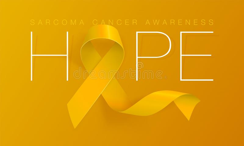 Hope. Sarcoma and Bone Cancer Awareness Calligraphy Poster Design. Realistic Yellow Ribbon. July is Cancer Awareness. Month. Vector Illustration royalty free illustration