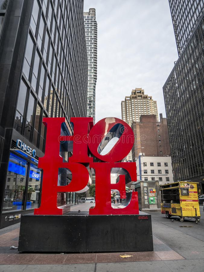 Hope sculpture, Robert Indiana, Manhattan, New York stock photo