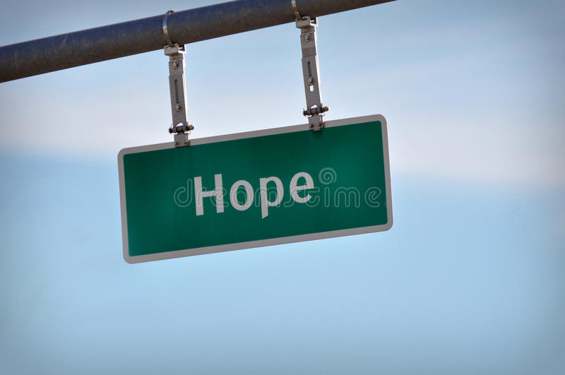 Hope Sign. Photo of a Hope Traffic Sign that can you used for inspiration royalty free stock photos