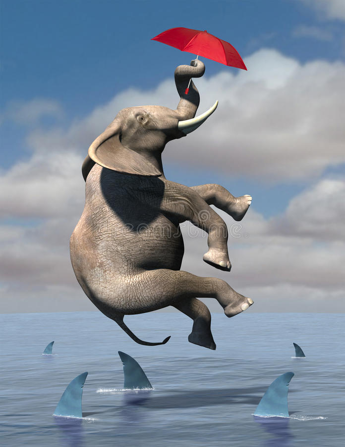 Business Risk, Goals, Sales, Marketing. Abstract concept for hope and dreams. An elephant flies through the air using a red umbrella. Below are shark infested vector illustration