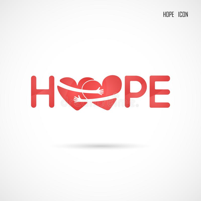 `Hope` typographical.Hope word icon.Breast Cancer October Awareness Month Campaign Background royalty free illustration