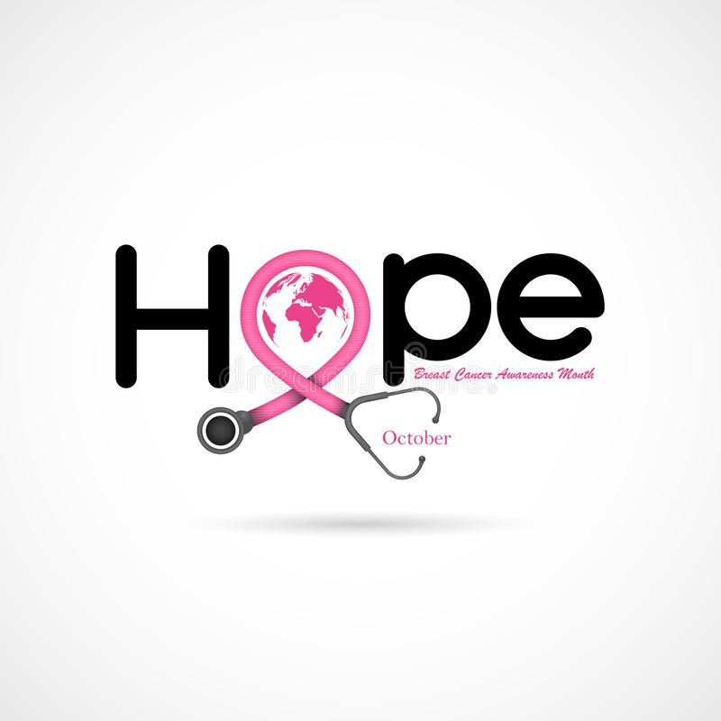 Hope typographical.Hope word icon.Breast Cancer October Awareness Month Campaign Background. stock illustration