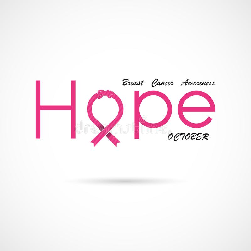 Hope typographical.Hope word icon.Breast Cancer October Awareness Month Campaign Background royalty free illustration