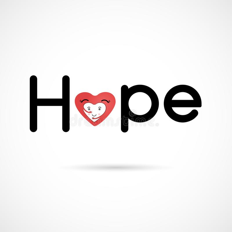 `Hope` typographical.Hope word icon.Breast Cancer October Awareness Month Campaign stock illustration