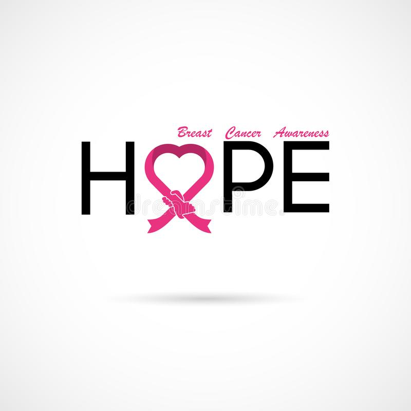 Hope typographical.Hope word icon.Breast Cancer October Awareness Month Campaign vector illustration