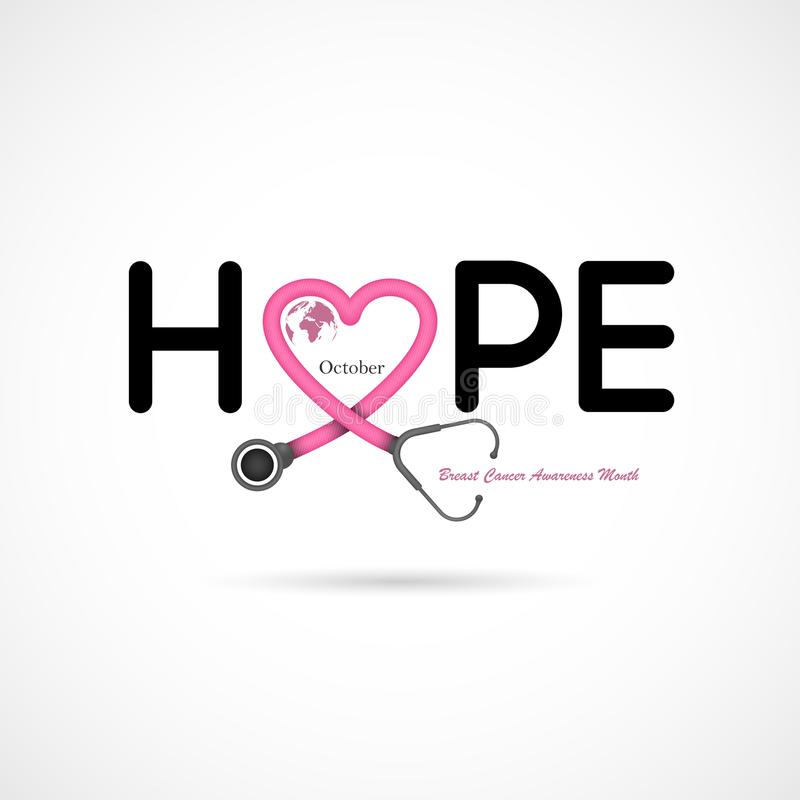 Hope typographical.Hope word icon.Breast Cancer October Awareness Month Campaign royalty free illustration