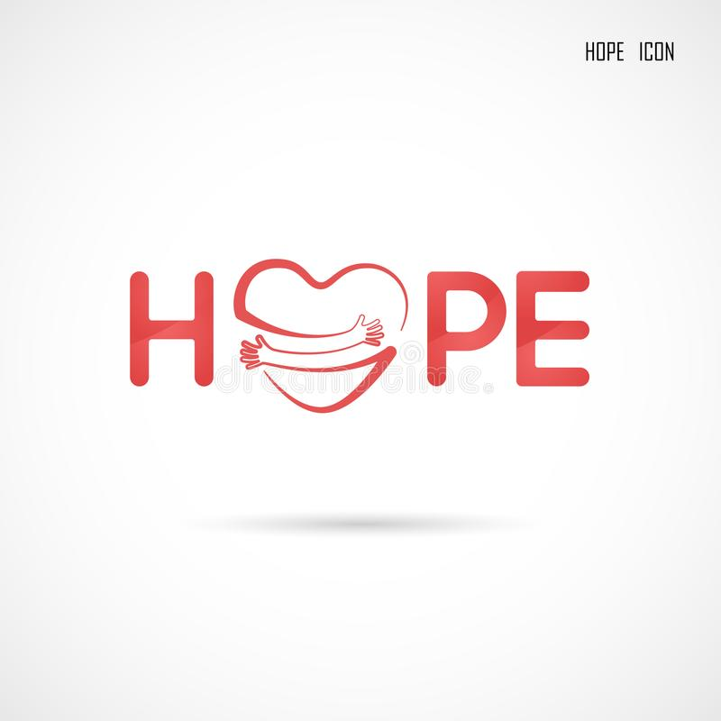 Hope typographical.Hope word icon.Breast Cancer October Awareness Month Campaign stock illustration