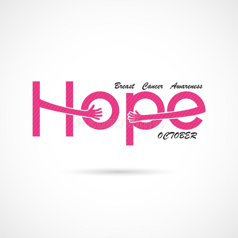 `Hope` typographical.Hope word icon.Breast Cancer October Awareness Month Campaign Background. Women health vector design.Breast cancer awareness logo design vector illustration