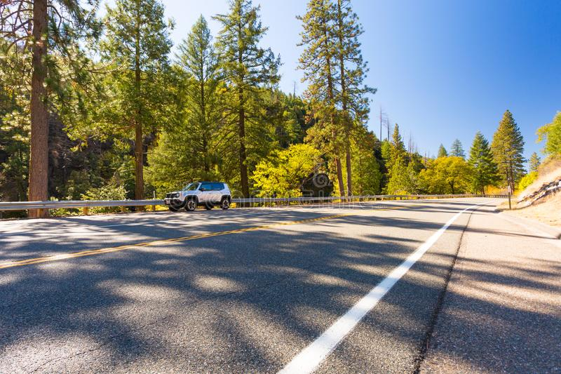 Hope Valley, California, United States. Car parking next to road in Hope Valley, California, United States stock photo