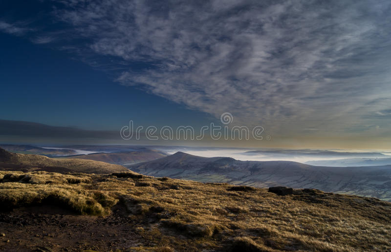 Hope Valley before sunset. Fog creeping through the Hope Valley stock image