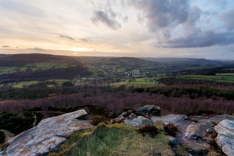 Hope Valley. Sunset in Hope valley in Peak District stock photo