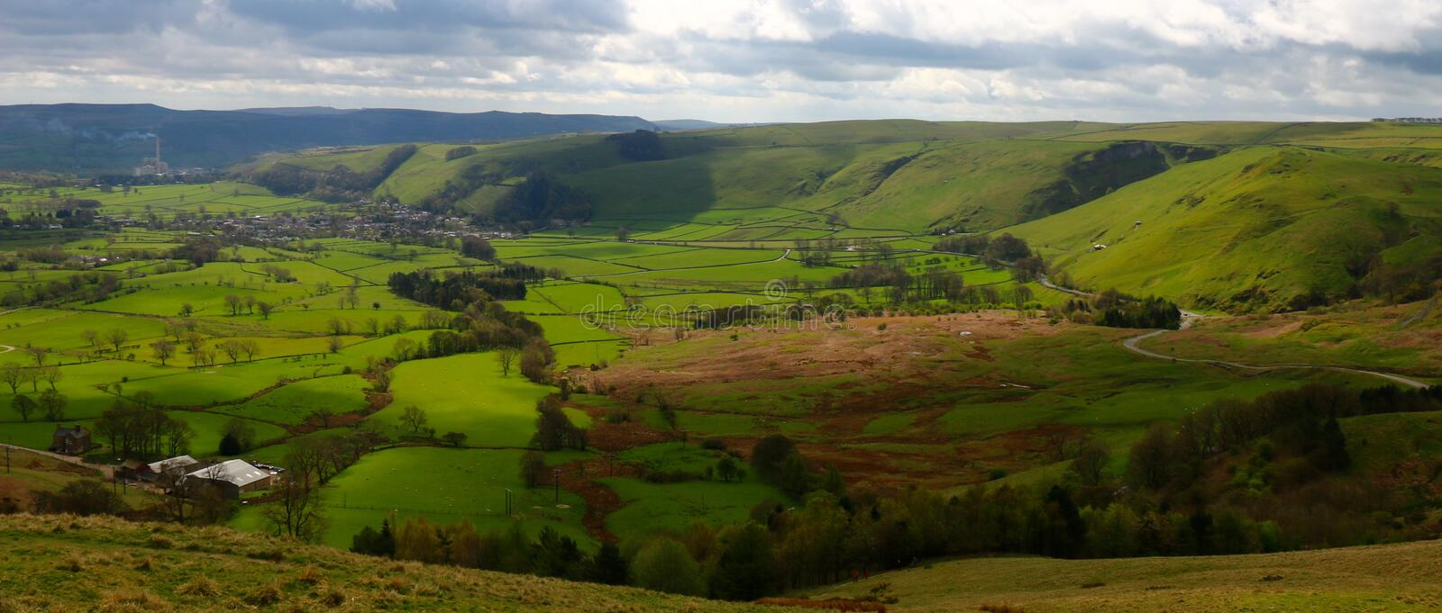 Hope Valley. A view Hope Valley from Mam Tor, Derbyshire, England. Classic English countryside royalty free stock images
