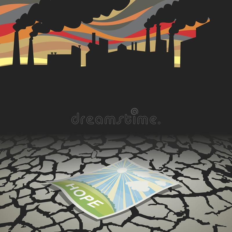 Hope. The world is on the brink of ecological disaster. But there is hope. Vector format vector illustration