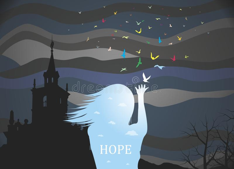 Hope. The world is on the brink of ecological disaster. But there is hope. Vector format royalty free illustration