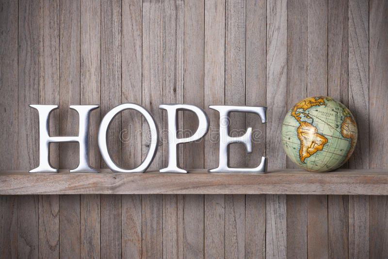 Hope World Globe Wood Background royalty free stock images