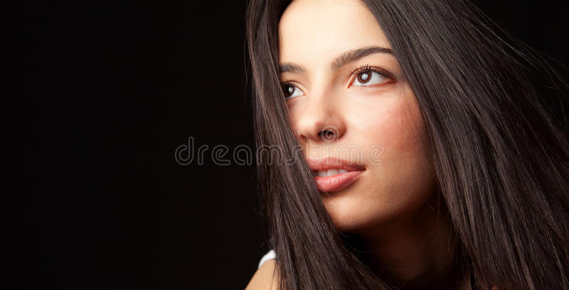 Hopeful young cute student woman stock images