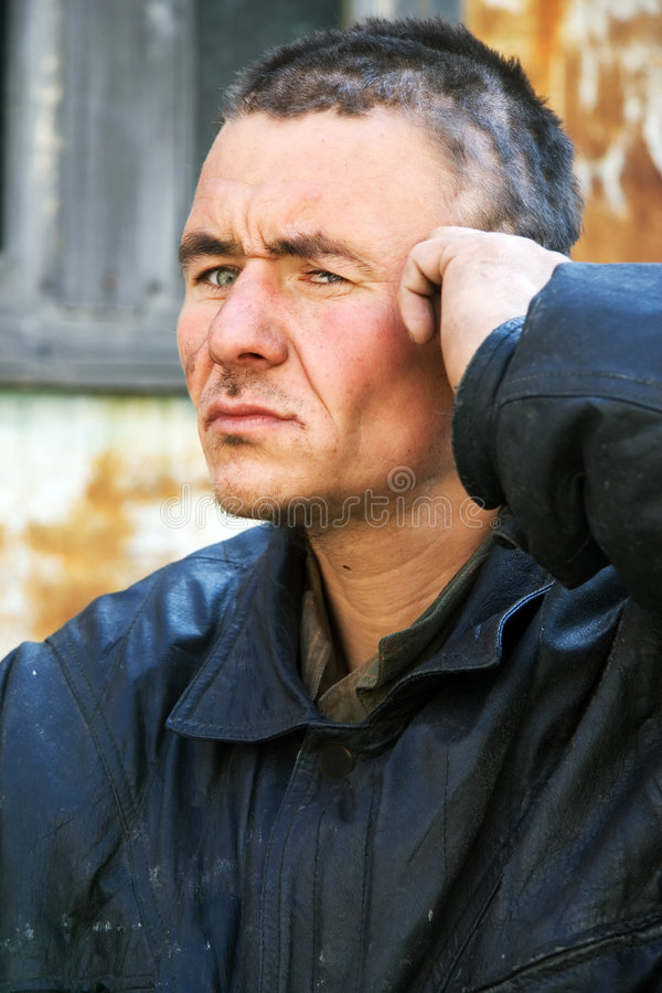 Download Sad homeless man stock image. Image of headache, head - 7360425