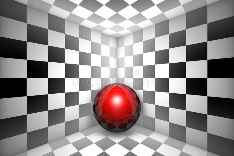 Hopelessness (chess metaphor). Red ball in black and white square. 3d image royalty free illustration
