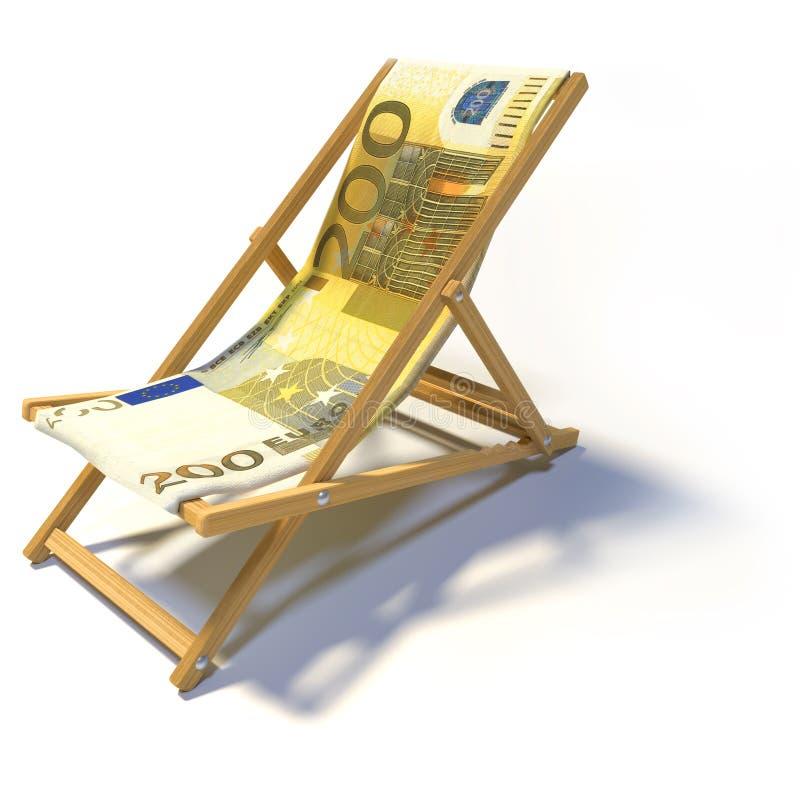 Hopfällbar deckchair med euro 200 royaltyfri illustrationer