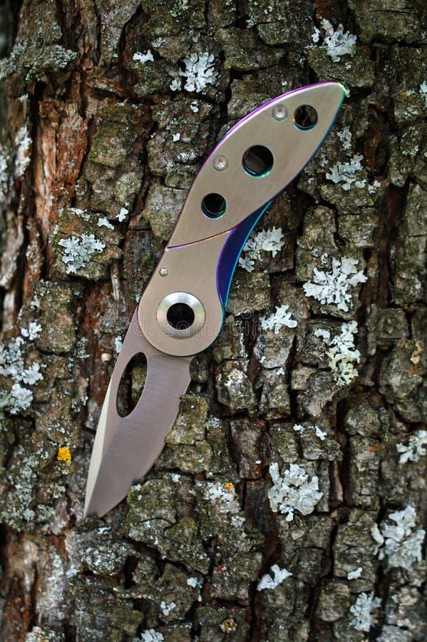 Hopfällbar kniv för campa rostfritt stål arkivfoton