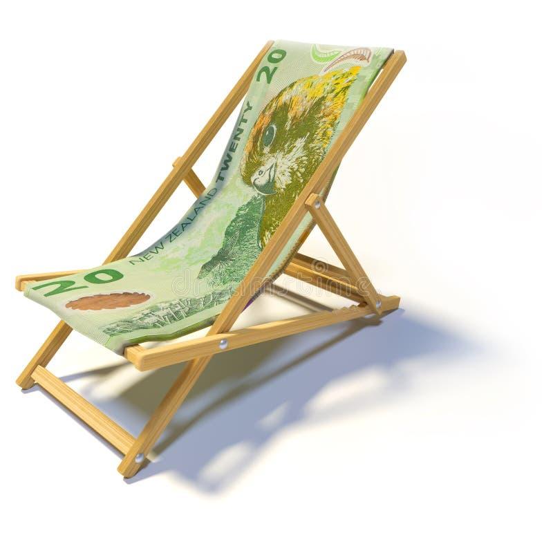 Hopfällbar stol med 20 nyazeeländska dollar vektor illustrationer