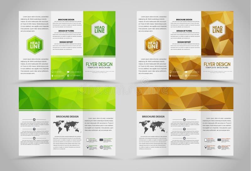 Hopfällbara broschyrer för design med polygonal beståndsdelar stock illustrationer