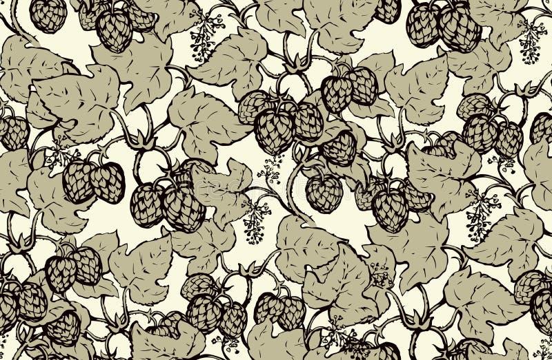 Hopfen Blumenhintergrund mit Gras vektor abbildung