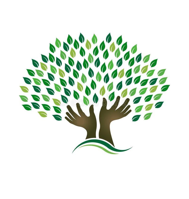 Hoping Tree hands vector illustration