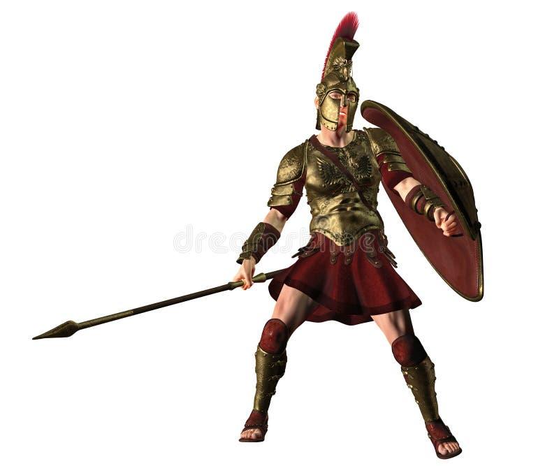 Hoplita del griego clásico en postura de la batalla libre illustration