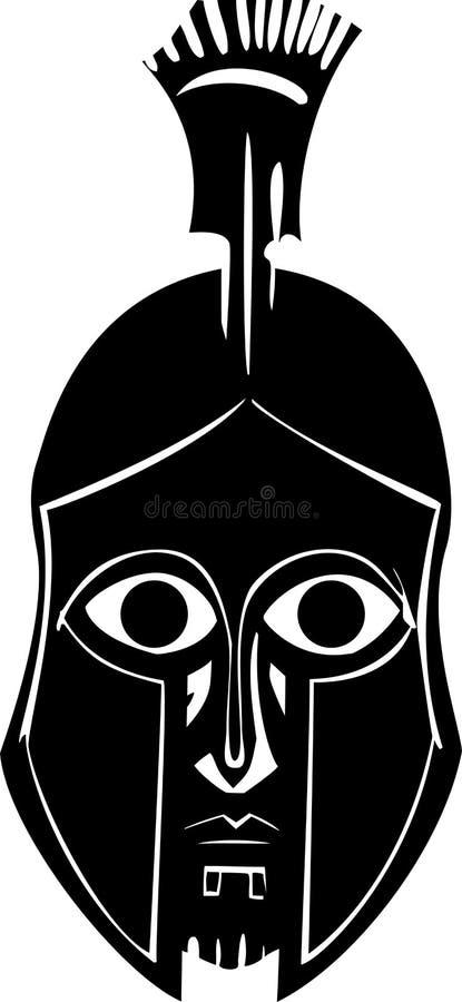 Hoplite dans le casque grec illustration stock