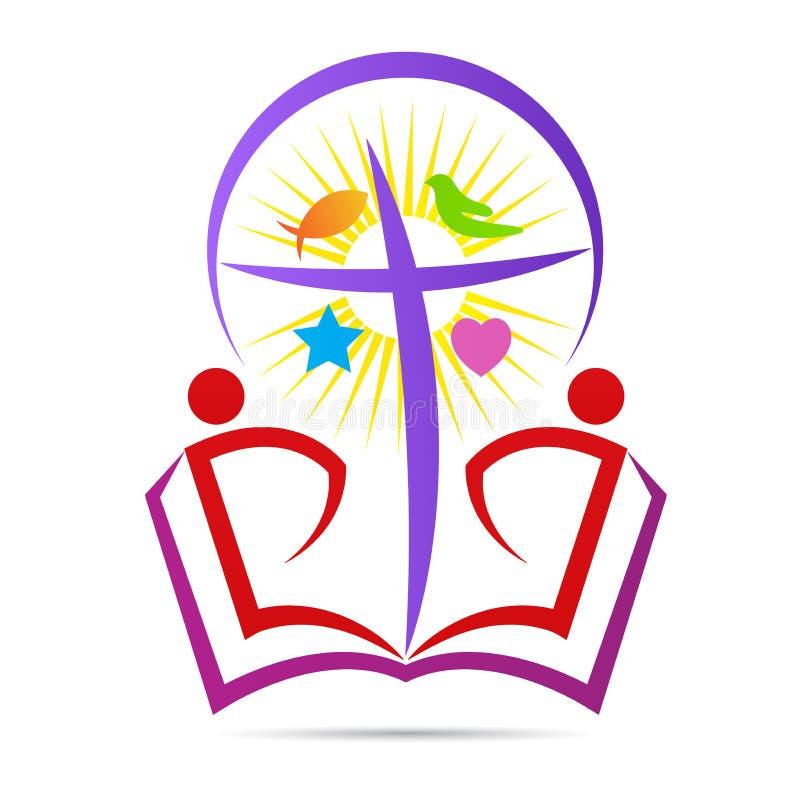 Hopp för kristendomenbibelkorset tror logo för fredsymbol stock illustrationer