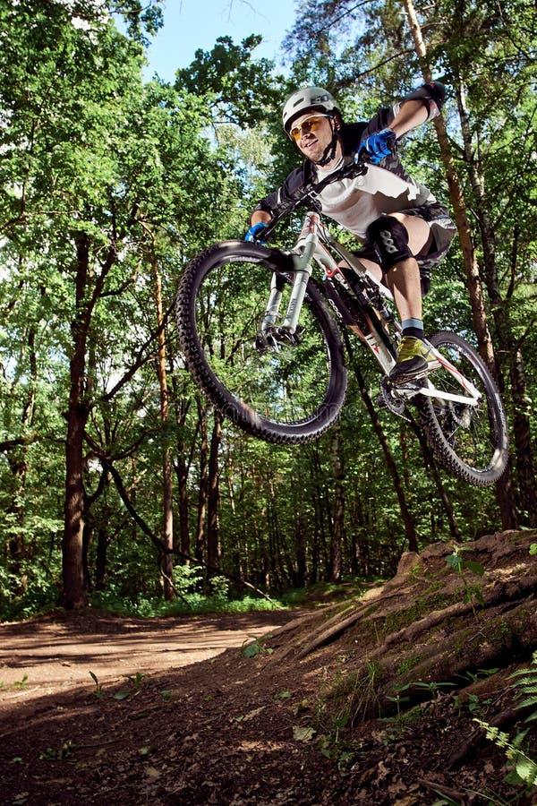 Hopp på en mountainbike royaltyfri fotografi