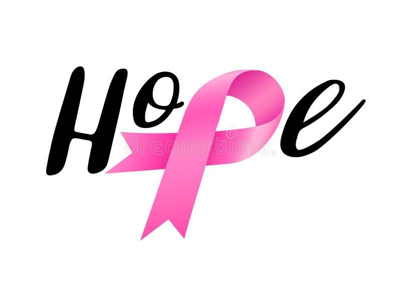 Hopp som märker design med det rosa bandet Aktion för bröstcancermedvetenhetmånad royaltyfri illustrationer