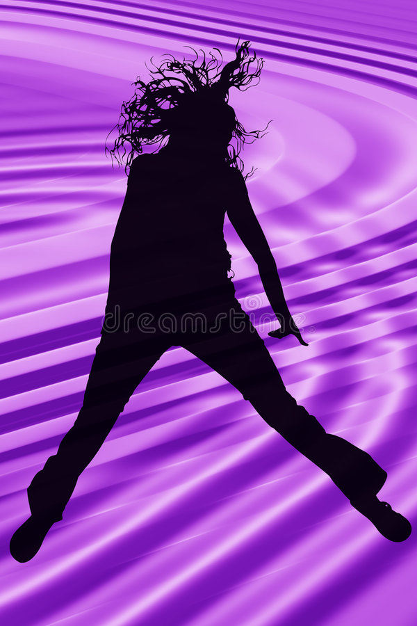 hoppa över den teen purpura silhouetten royaltyfri illustrationer