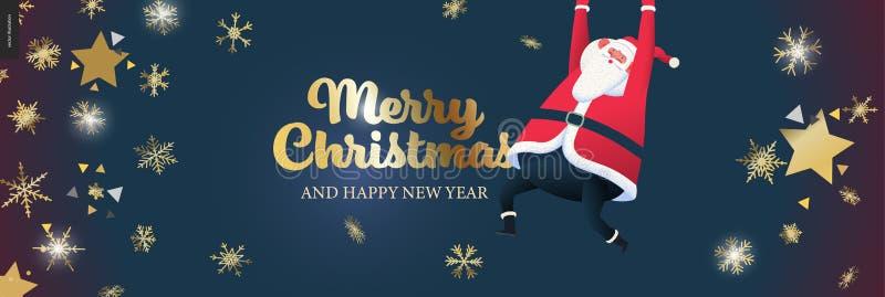 Hoppa över jultomten - christmas webbbanderoll royaltyfri illustrationer