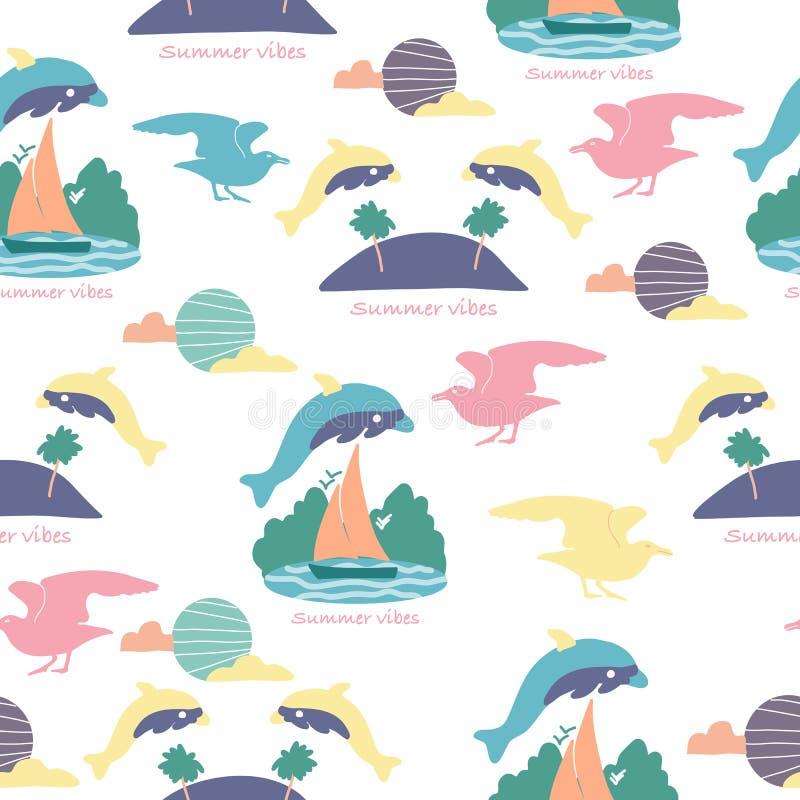 Hoppa delfin, i en sömlös modelldesign royaltyfri illustrationer