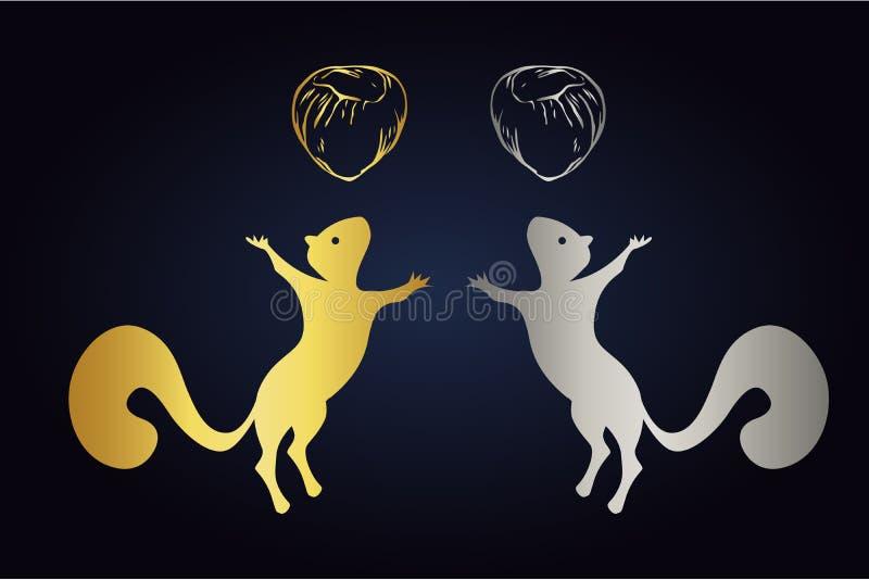 Hoppa den ekorrekonturn och hasselnöten som isoleras på mörk bakgrund Logoen ställde in av ekorrar med muttrar i guld- och silver vektor illustrationer