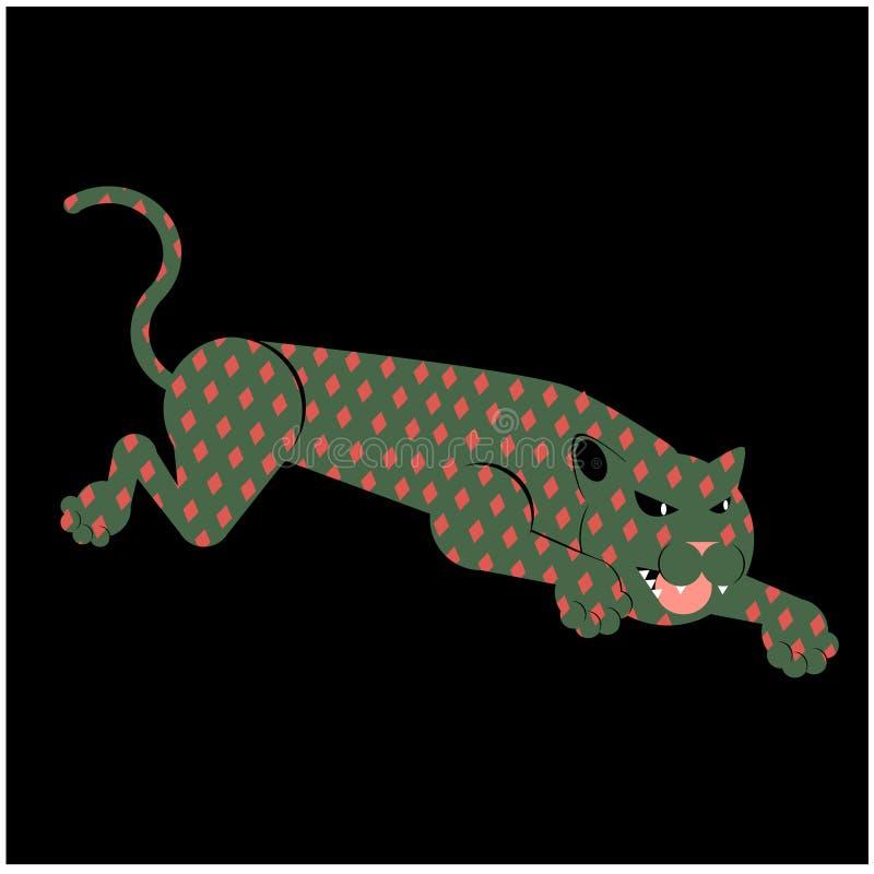 Hoppa den plana illustrationen för leopard vektor illustrationer