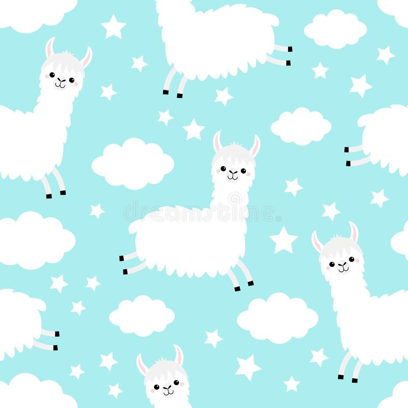Hoppa för Alpacalama seamless modell Molnstjärna i himlen Roligt behandla som ett barn le för gullig tecknad filmkawaii teckenet  stock illustrationer
